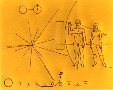 A picture of the metal plaques attached to Pioneers 10 and 11. This image was designed by Carl Sagan in an attempt to communicate to extraterrestrials information about the origins of the spacecraft.